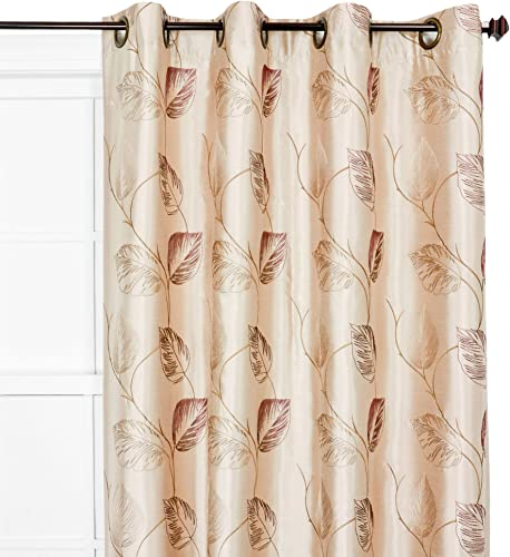 Ellis Curtain Astonish 50-by-84 Inch Embroidered Leaf Grommet Top Lined Window Treatment Panel