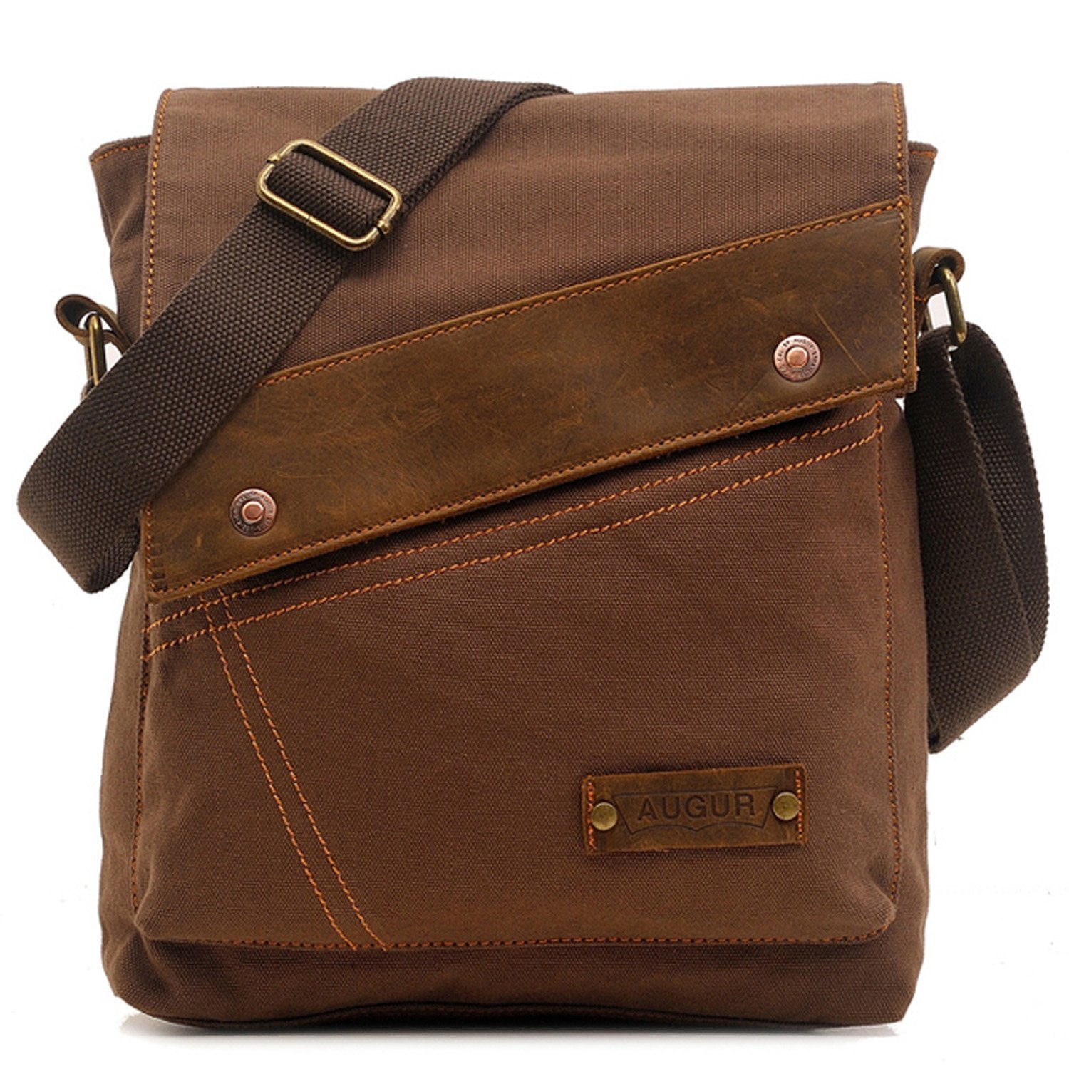Aibag Messenger Bag, Vintage Small Canvas Shoulder Crossbody Purse (Coffee)
