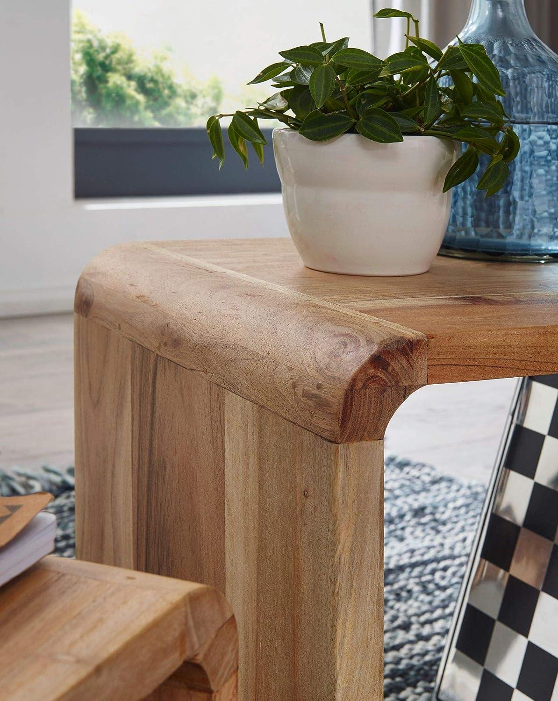 FineBuy 2er Set Satztisch Massivholz Design Couchtisch Akazie 2 Tische Holztisch Wohnzimmer | W/ürfelregal-Set Braun Wohnzimmertisch Massiv Beistelltische Holz Landhaus Stil