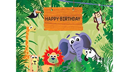 Party Propz Jungle Theme Backdrop 4Ft4FtJungle Birthday Decoration