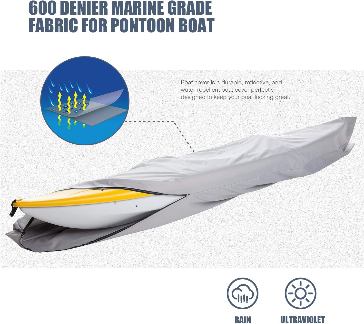 GOODSMANN Trailable Marine Grade Heavy Duty 600D Kayak Cover Beam Width to 27 9921-0172-31 Canoe Cover Fits Fits 10ft Length