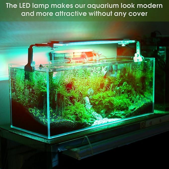 Lámpara Acuario Luces Impermeable LED para Acuarios de Peces y Estanques 16 Colores Aluminio Acrílico Vidrio con Control Remoto para Acuario 26cm-42cm: ...
