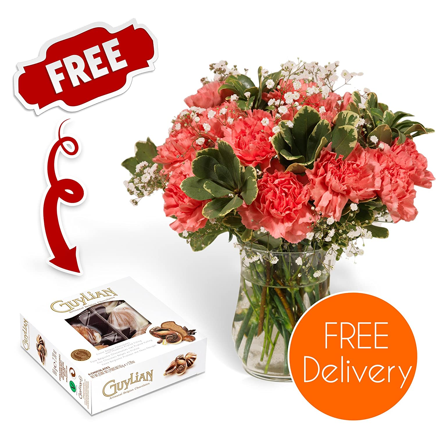 Fresh flowers delivered delivery included 18 pink carnations bouquet with chocolates flower food and bonus ebook guide perfect for birthdays fresh flowers delivered delivery included 18 pink carnations bouquet with chocolates flower food and bonus ebook g