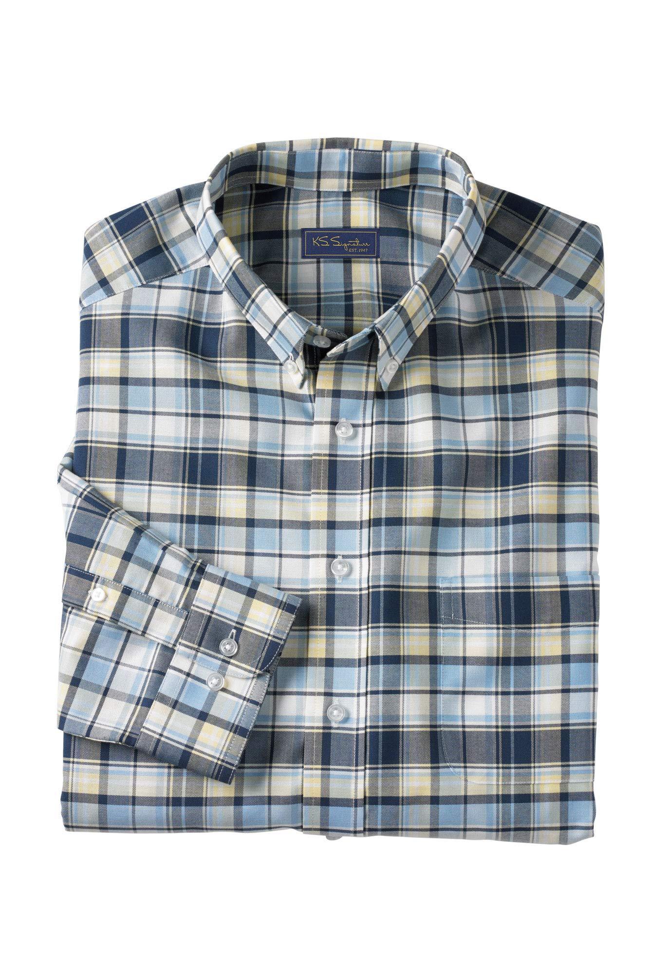 Kingsize Signature Collection Mens Big /& Tall Kingsize Signature Collection Wrinkle-Resistant Oxford Dress Shirt