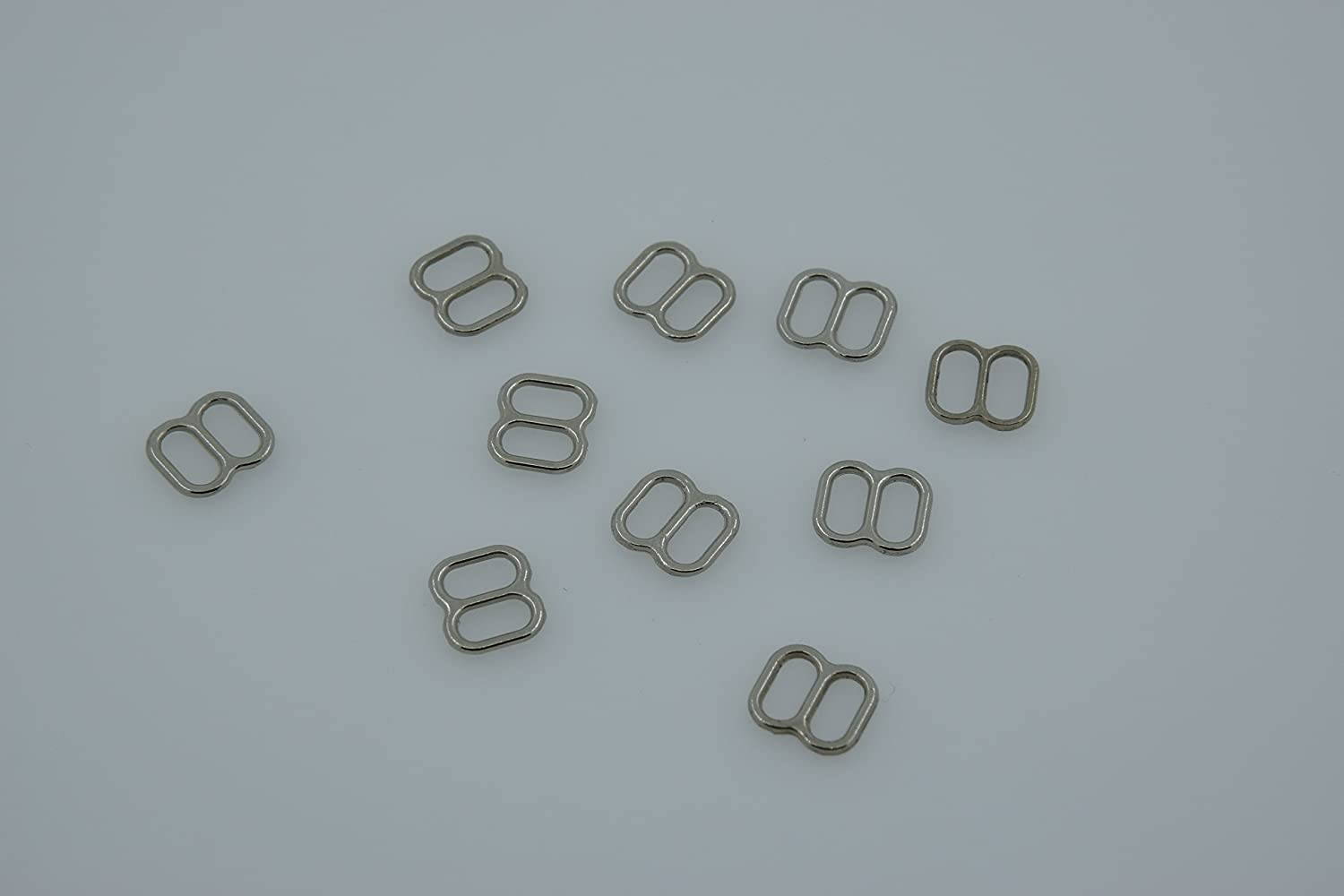 Buckes Wholesale 100pcs//lot Silver//Gold//Rose Gold Metal Bra Strap Rings Sliders and Hooks Bra Making Materials 6mm//8mm//10mm//12mm//15mm Size: 10mm, Color: Silver