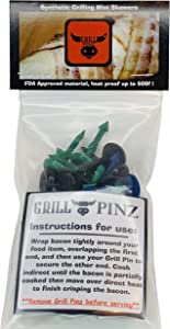 GRILL PINZ - Essential Grilling Accessory - Attach and Combine Food While Cooking (Better Than Grill Skewers) - Perfect for Attaching Bacon to Meat on The Grill (32 Pack)