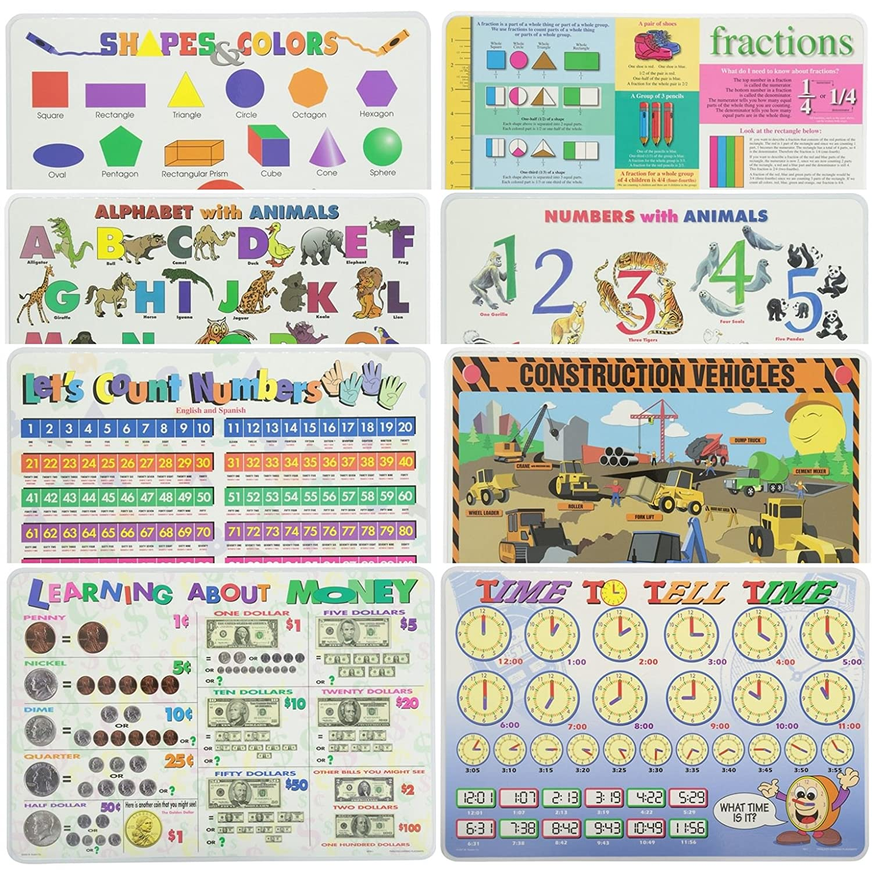 Painless学習教育プレースマットfor Kids図形と色、アルファベット、数字、Let 's Count Numbers ,分数, Construction Vehicles、時間とお金8パック   B0771W913K