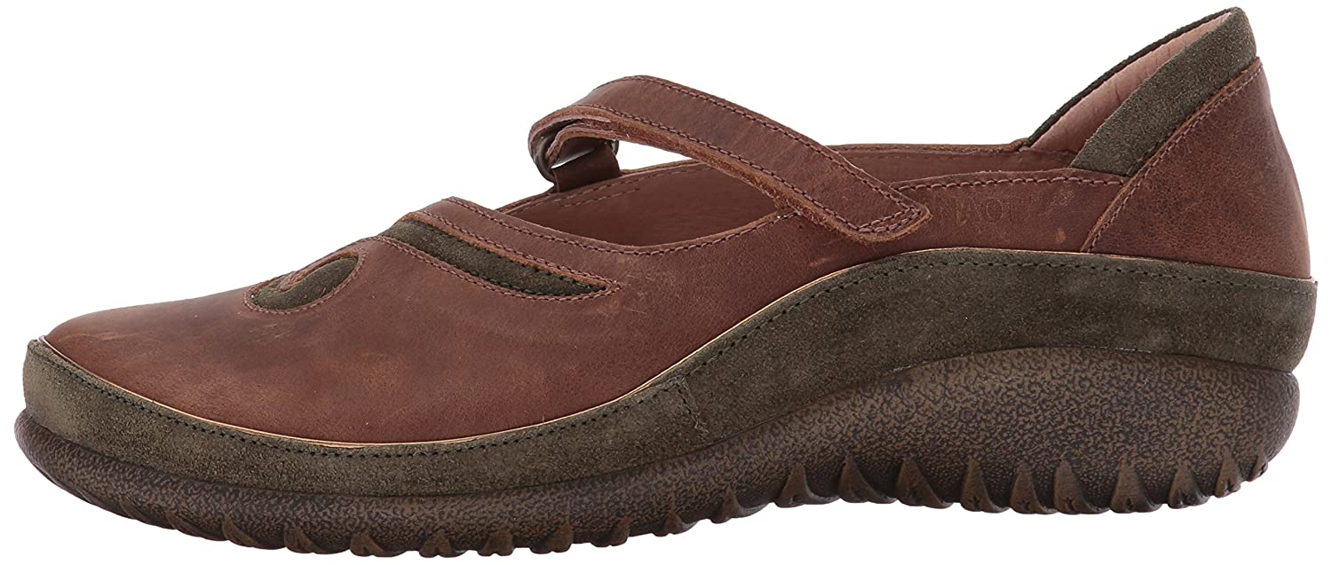 NAOT Women's Matai Mary Jane Flat B01N36A3DS 43 Medium EU (12 US)|Saddle Brown Leather/Oily Olive Suede
