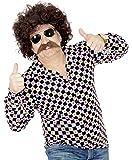 Foxxeo 35161 | 70er Jahre 80er Perücke und Bart Set für Herren Karneval Fasching Party braun Disco