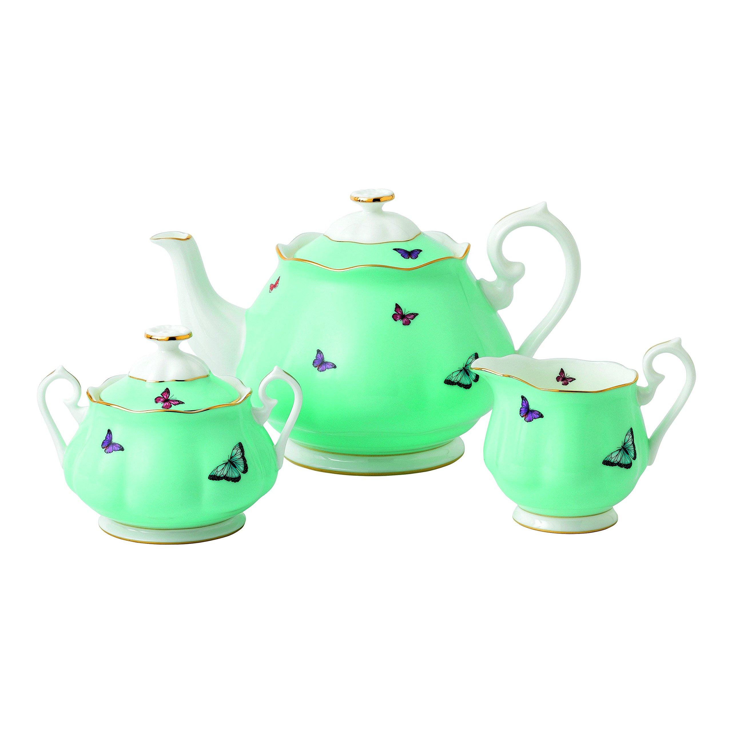 Royal Albert 40025886 Miranda Kerr Blessings 3-Piece Set (Teapot, Sugar & Creamer), Multicolor