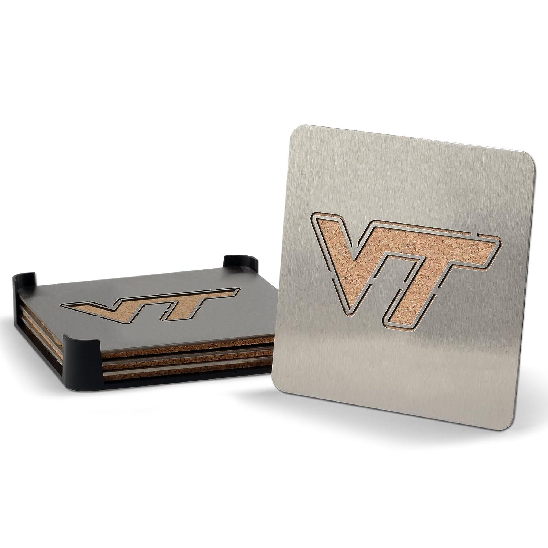 YouTheFan NCAA Virginia Tech Hokies 4-Piece Stainless Steel Boaster Drink Coaster Sportula 7016108