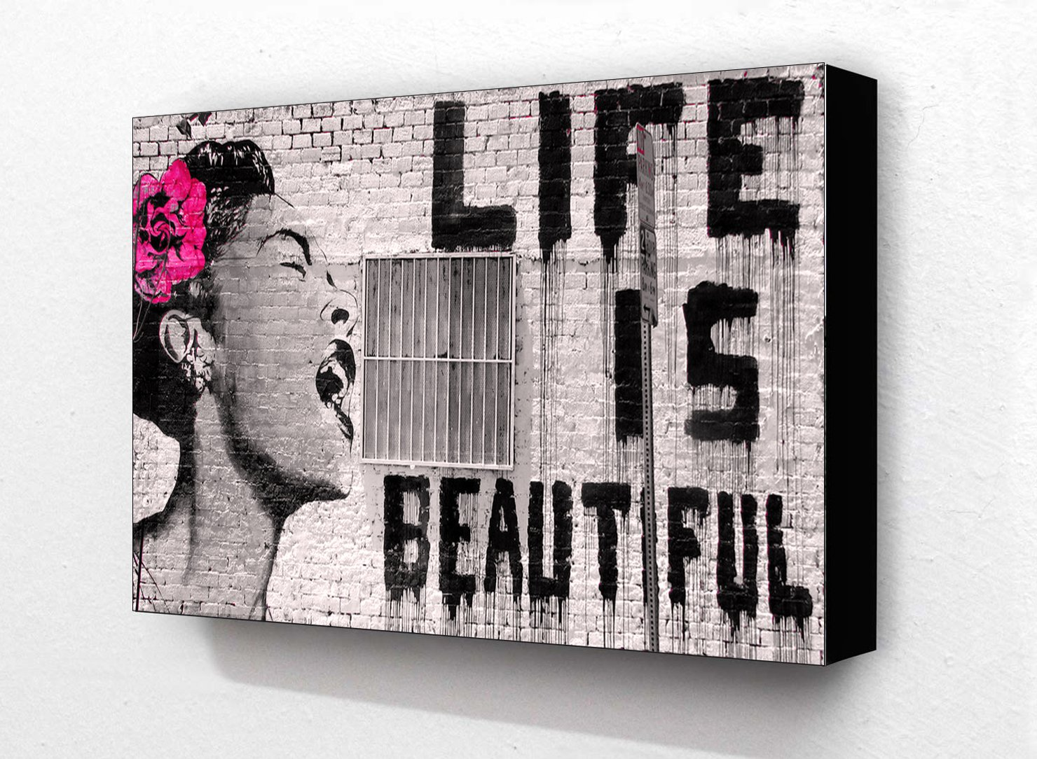 Banksy Life Is Beautiful 6 x 4 Inches Postcard Size Block Mounted Print Laminated Posters