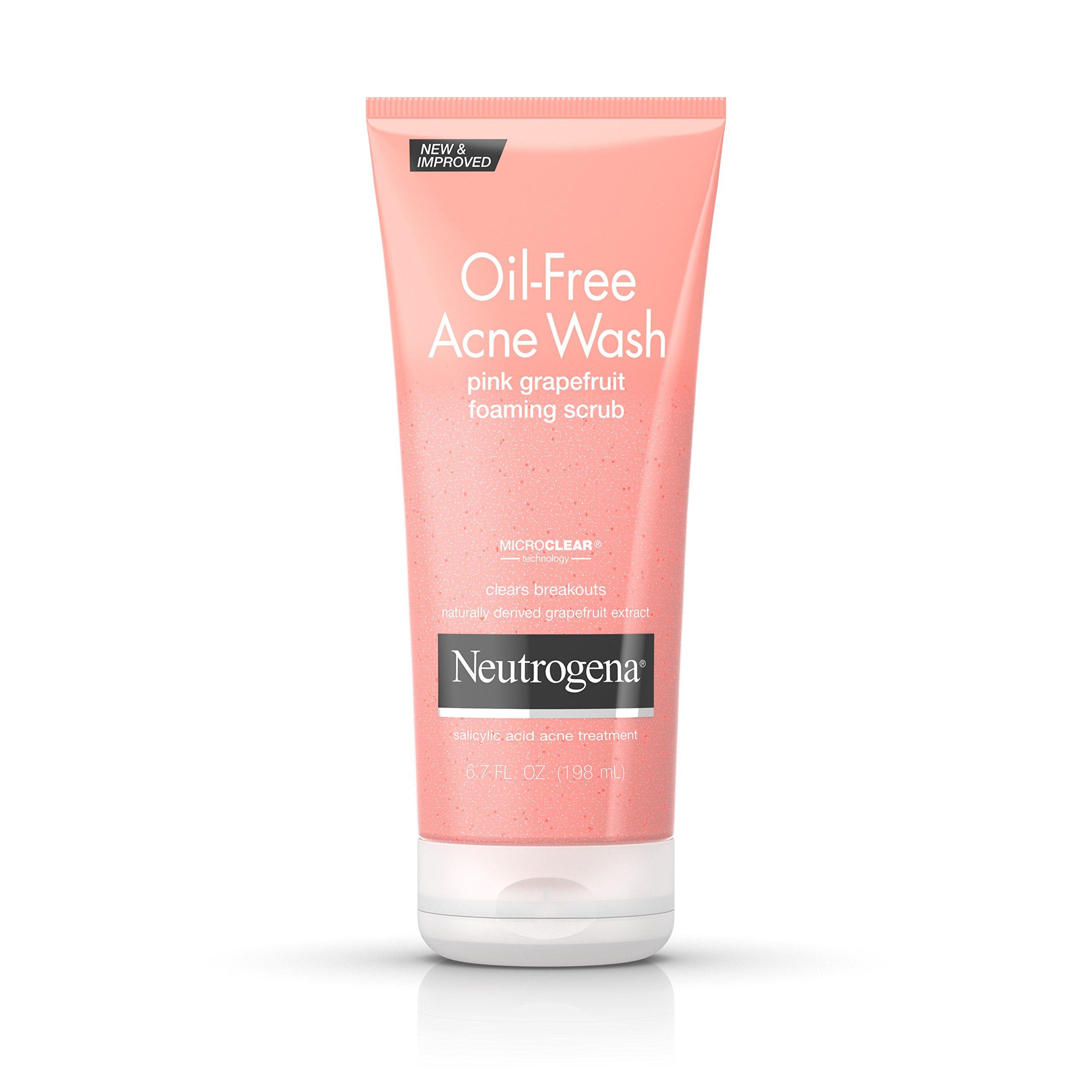 Neutrogena Oil-Free Acne Face Wash Pink Grapefruit Foaming Scrub, Salicylic Acid Acne Treatment, 6.7 Fl. Oz. (Pack of 3)