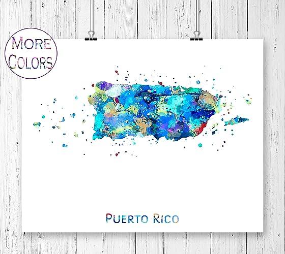 Amazon.com: Puerto Rico Map Art Print, Poster, Wall Art ...