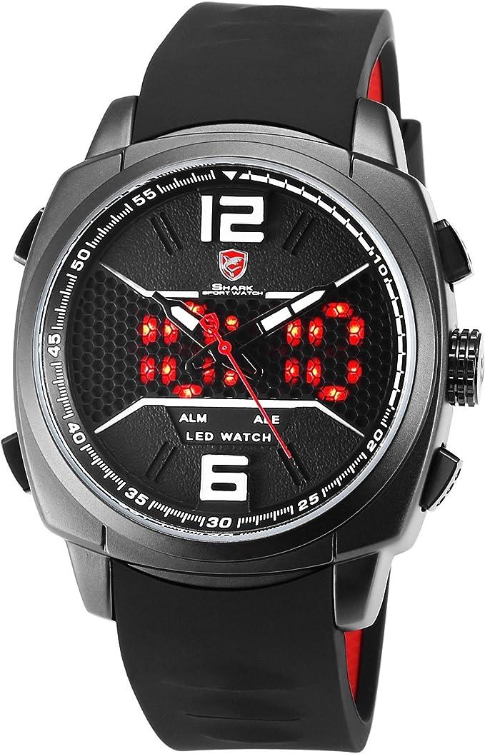 SHARK Hombre Deportivos Cuarzo Relojes de Pulseras Silicona LED Fecha día Mostrar Alarma Manos Luminosas SH490