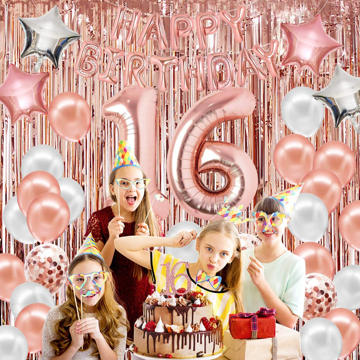 16th Rose Gold Birthday Decorations for Girls with Cake Topper Confetti Balloons Sash Teal Curtain Letter Balloons Rose Gold Birthday Decorations Sweet 16 Birthday Decorations