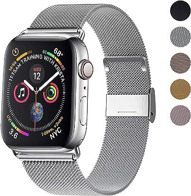 Correa del Reloj Compatible con Apple Watch de 38mm 40mm 42mm 44mm, Pulsera para Reloj de Reemplazo de Acero Inoxidable con Imán para iWatch Series 5/4/ 3/2/1: Amazon.es: Electrónica