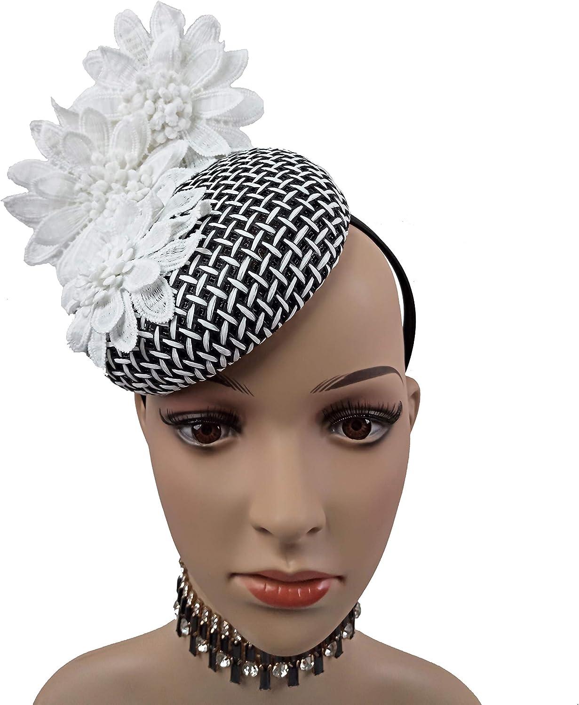 ABPF Fascinator Hat for Women Tea Party Wedding Derby, Pillbox Hat with Headband Women Headwear