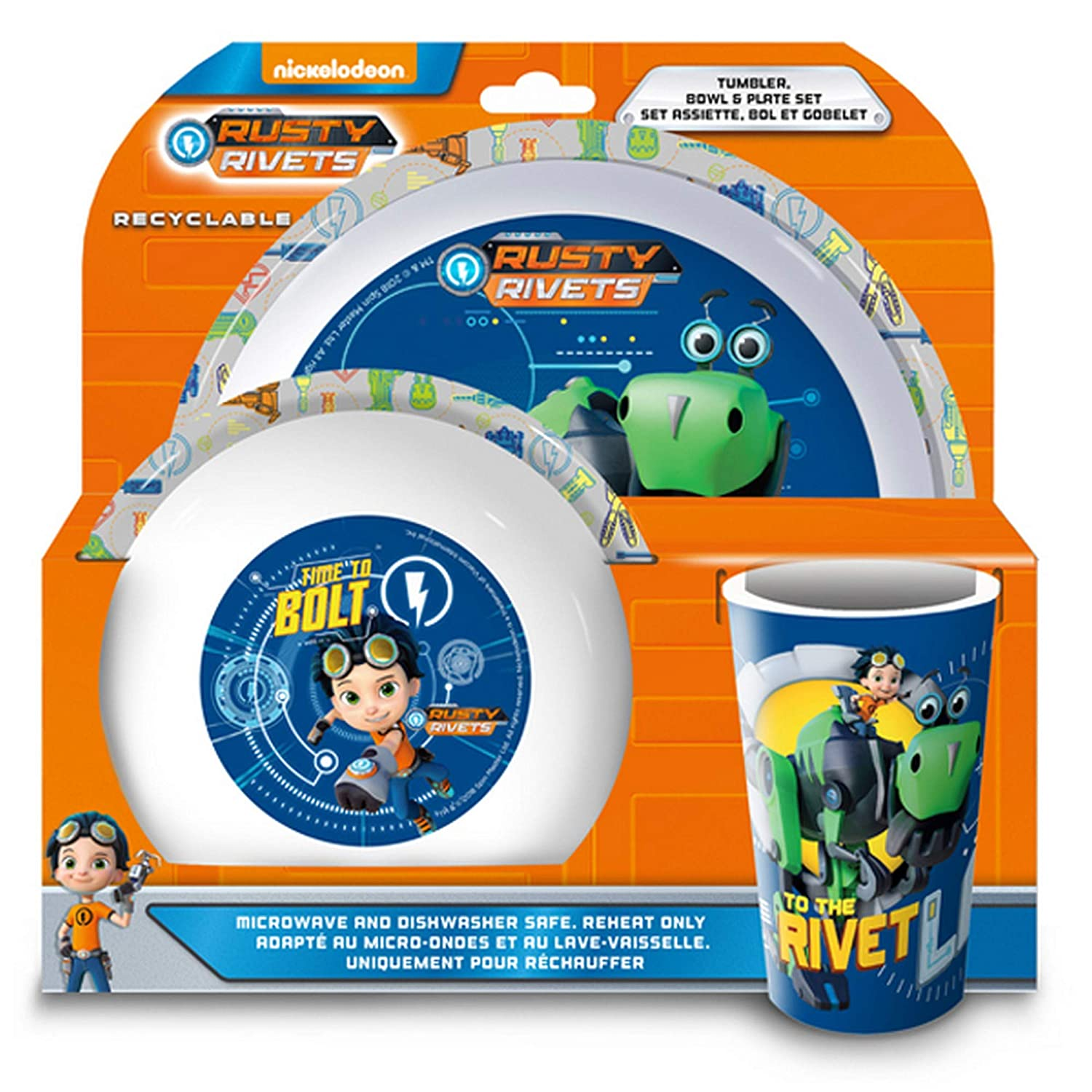 Rusty Rivets 3 Piece Dinner Set (One Size) (Multicolored) UTSG15424_1