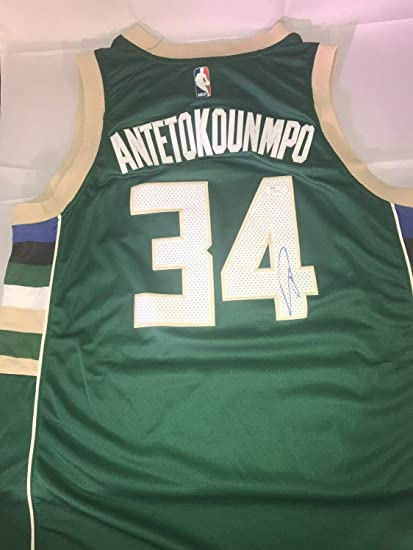 ec666e321 Image Unavailable. Image not available for. Color  Giannis Antetokounmpo  Autographed Signed Milwaukee Bucks Jersey With Memorabilia JSA COA