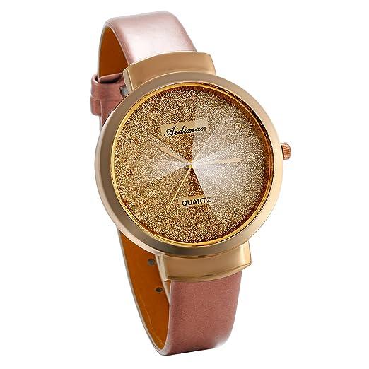 JewelryWe Reloj Dorado para Mujer, Analogico Reloj de Moda Cuarzo Las Estrellas Retro Vintage Correa de Cuero PU Rosa, Original Regalo para Mujeres: ...