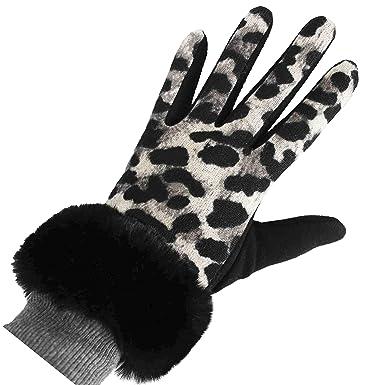 202d6055680e FERETI Gris Gants Femme Léopard Panther Fourrure Noir Tactile Hiver  Tactiles Chat Sauvage