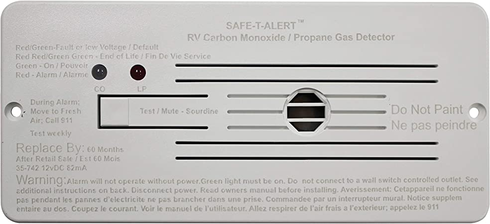 Amazon Com Safe T Alert By Mti Industries 35 742 Wt Dual Lp Co Alarm 12v 35 Series Flush Mount White 6 3 8 W X 2 7 8 H X 1 D Automotive