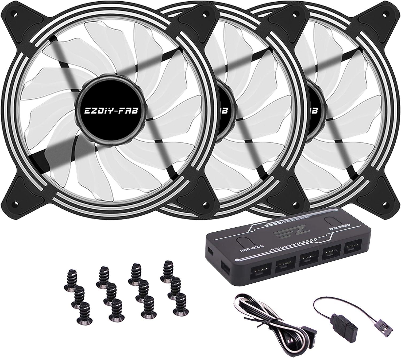 EZDIY-FAB 3-Pack 120mm Dual Frame RGB PWM Fans for PC Case,Addressable RGB Case Fan with Fan Hubs,5V ARGB 3-pin Motherboard Sync,ASUS Aura Sync