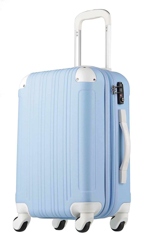 【レジェンドウォーカー】LEGEND WALKER スーツケース 容量拡張 TSAロック 超軽量 マット加工 ファスナー開閉 5082 B06XK8GL85 Sサイズ(3~5泊/47(拡張時56)L)|ブルー/ホワイト ブルー/ホワイト Sサイズ(3~5泊/47(拡張時56)L)