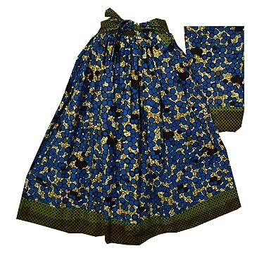 fc3f3e60559 Amazon.com  Decoraapparel African Wax Ankara Maxi Women Long Skirt Elastic  Waist Belt 1 Size  Clothing