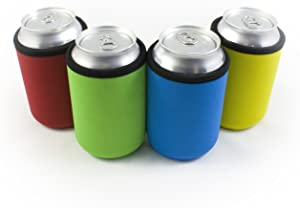 Beer Can Coolies - 4mm Thick Easy-On Supercoolies - Premium Set of 4 Assorted Collapsible Can Sleeves - Red, Green, Blue, Yellow