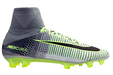 NIKE Mens Mercurial Superfly V (FG) Soccer Cleats PlatinumBlackGhost Green