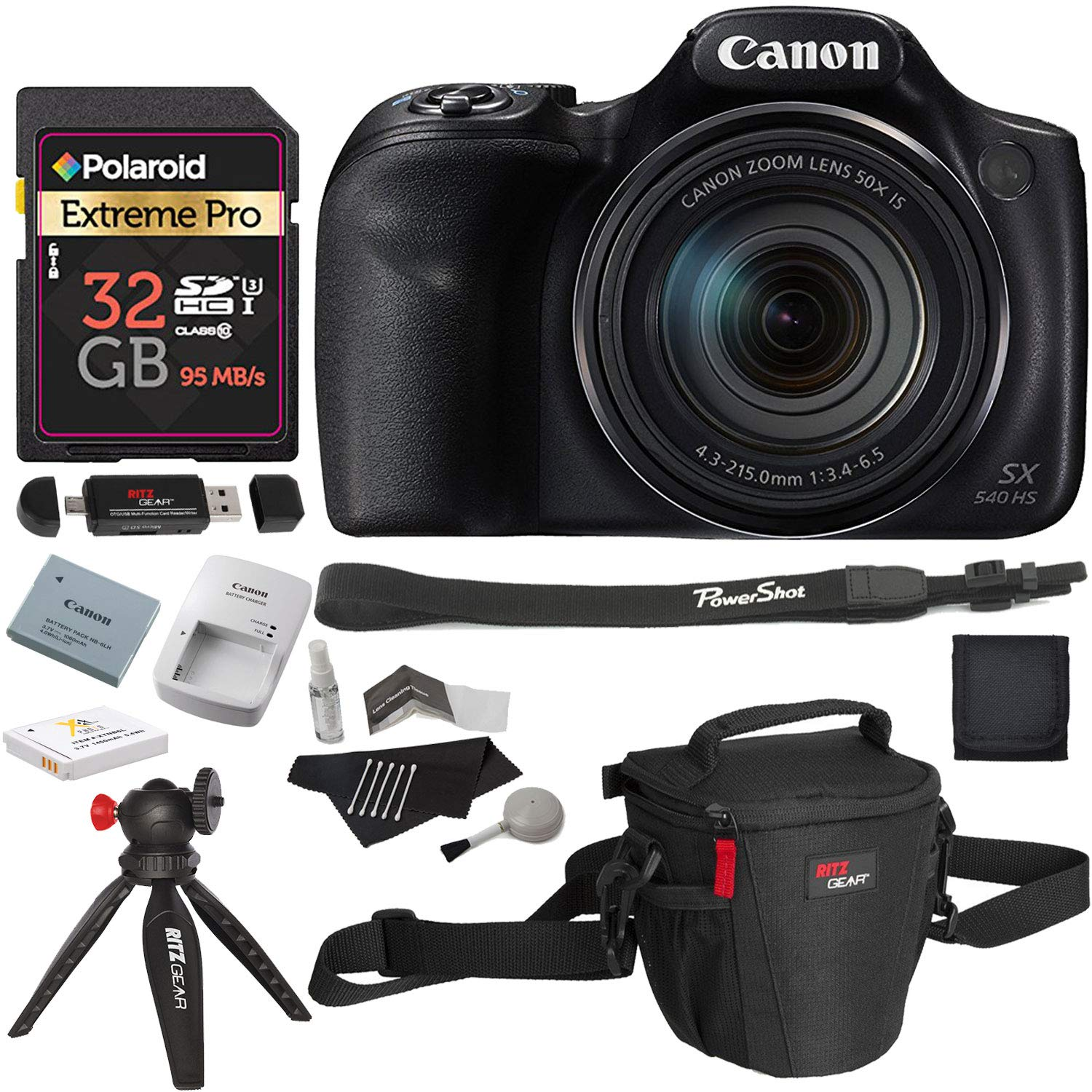Canon PowerShot SX540 HS with 50x Optical Zoom and Built-in Wi-Fi, Polaroid 32 GB U3 Memory Card, Tripod, Spare Battery, Camera Bag and Accessory Bundle by Canon
