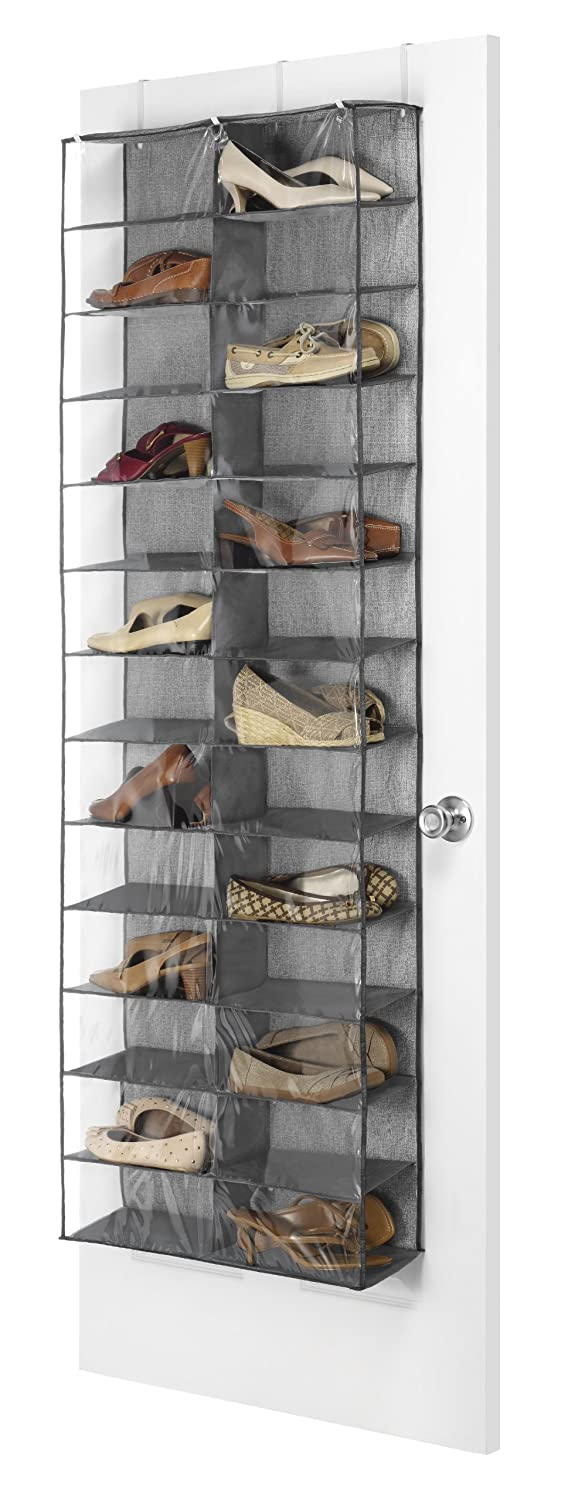 Whitmor Over The Door Shoe Shelves - 26 Sections - Crosshatch Gray 6283-4457