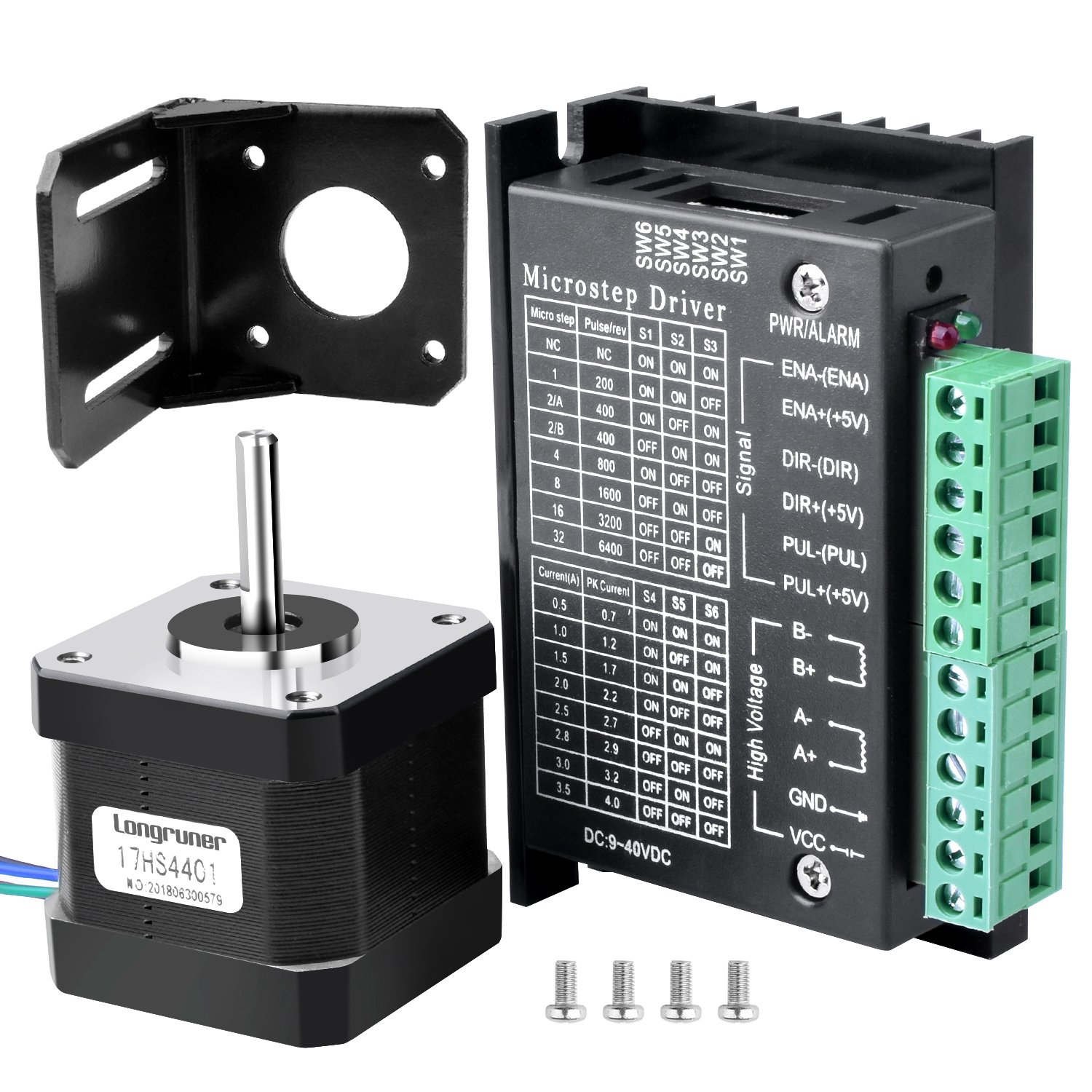 Longruner Nema 17 Stepper Motor + Stepper Motor Driver 3D Printer/CNC, Bipolar 1.7A/24V 42X40mm Body 4-Lead Stepper Motor & 32 Segments 4A 40V 57/86 Stepper Motor Driver LD09 (Nema 17)