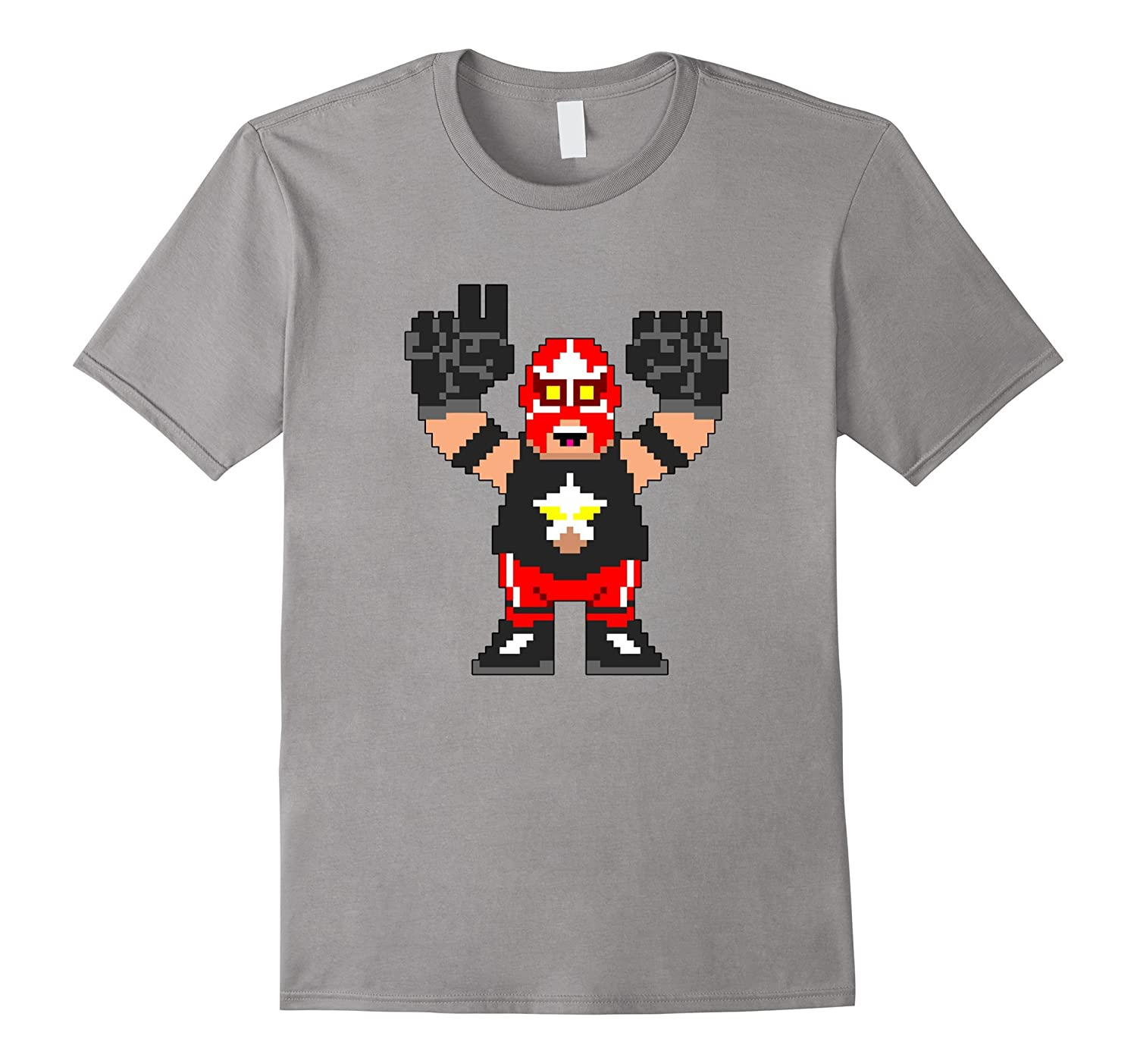 8 Bit Wrestler Big Train Wrestling Retro Gaming T-Shirt-TD