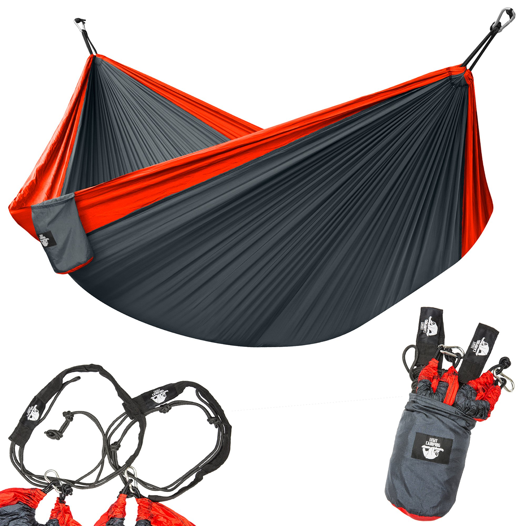 Legit Camping Double Hammock - Lightweight Parachute Portable Hammocks for Hiking, Travel, Backpacking, Beach, Yard Gear Includes Nylon Straps & Steel Carabiners (Ruby/Charcoal) by Legit Camping