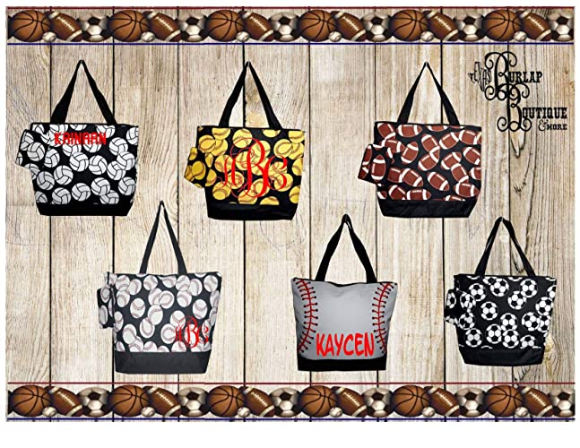 56d4183acea Amazon.com: FREE Personalization ~ Sports Tote Bag with Coin Purse attached  ~ Softball ~ Baseball ~ Football ~ Volleyball ~ Soccer: Handmade