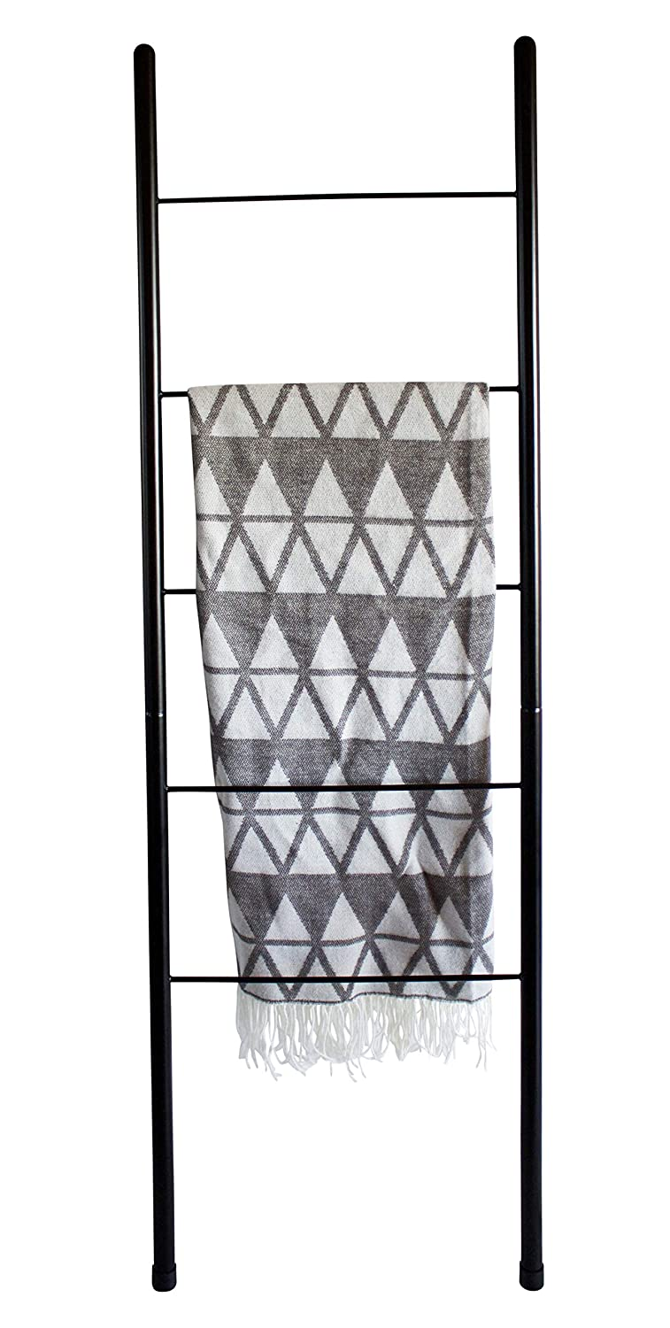 Blanket Ladder - Modern Rustic Decorative Metal Leaning Ladder Rack - 5 ft Tall Towel Drying and Display Rack, Quilt and Blanket Display Ladder