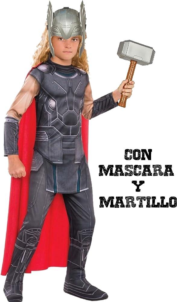 Disfraz de Thor con martillo y mascara - Niño, de 5 a 7 años ...
