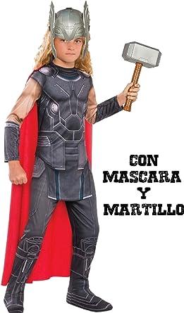 Disfraz de Thor con martillo y mascara - Niño, de 3 a 4 años ...