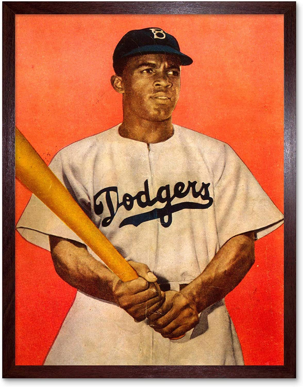 Wee Blue Coo Vintage Portrait Jackie Robinson Baseball Brooklyn Dodgers Wall Art Print Mur Encadr/é D/écor 30 x 41 cm