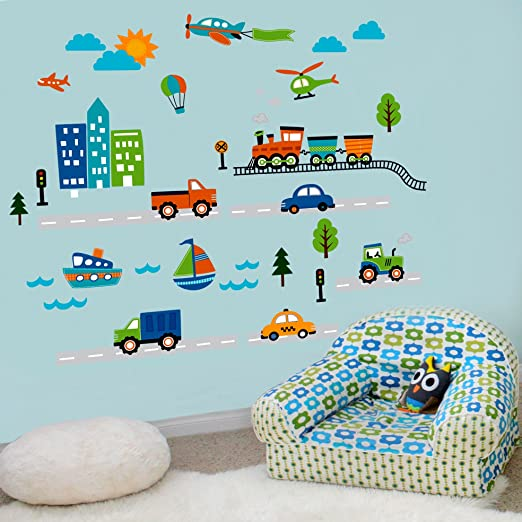 Amazon.com : CherryCreek Decals Transportation And City Scene Kidsu0027 Room  Peel And Stick Wall Sticker Decals : Nursery Wall Decor : Baby