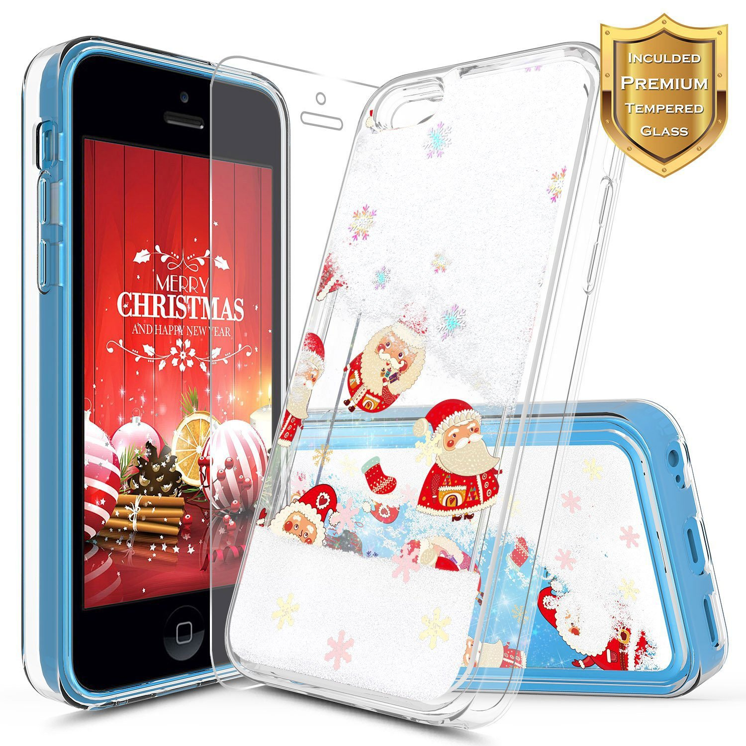 iPhone 5C Case w/[Screen Protector HD Clear], NageBee Glitter Liquid Quicksand Waterfall Floating Flowing Sparkle Shiny Bling Diamond Girls Cute Case iPhone 5C -Purple/Blue NGBIPHONE5CLSZL