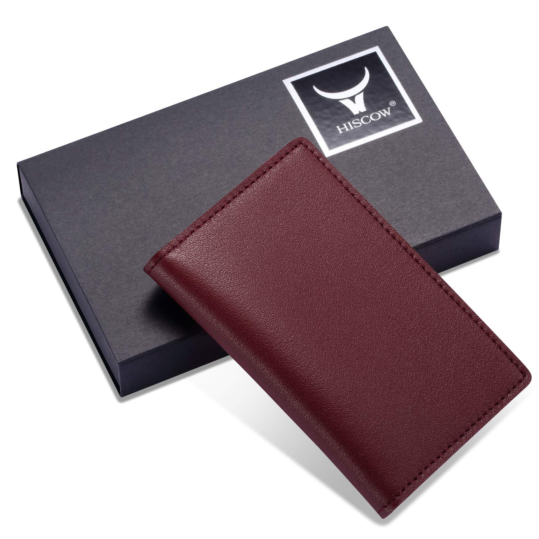 HISCOW Minimalist Thin Bifold Card Holder - Italian Calfskin (Bordeaux) by HISCOW (Image #7)