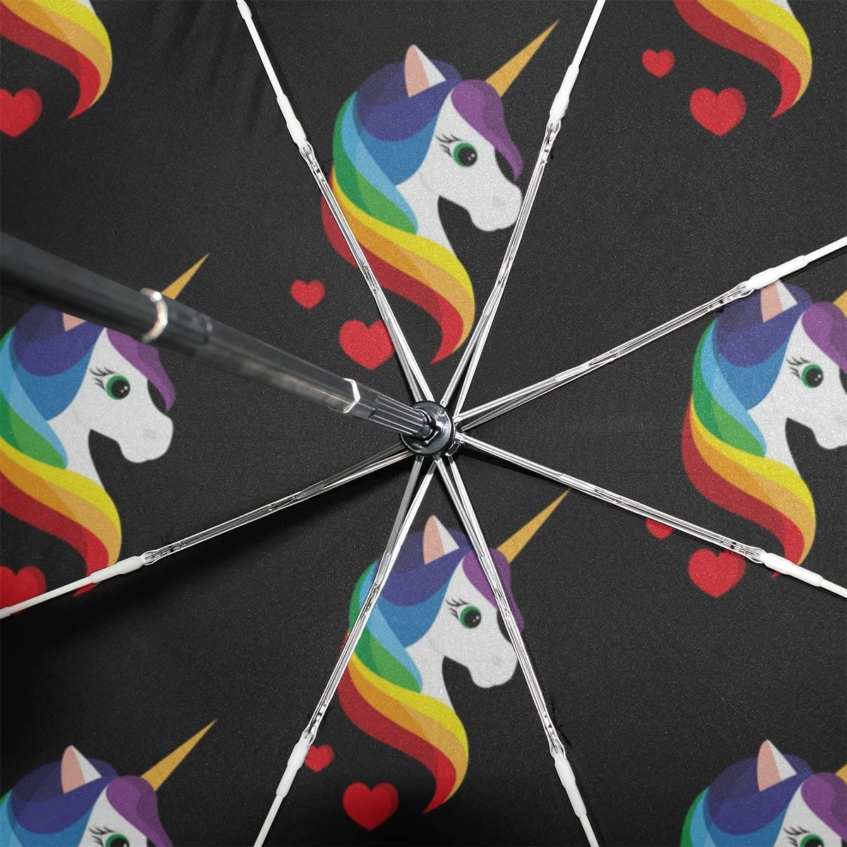 GIOVANIOR Unicorn Rainbow Umbrella Double Sided Canopy Auto Open Close Foldable Travel Rain Umbrellas