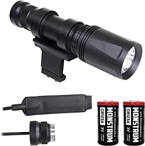 Monstrum FP45 400 Lumens Weapon Light with Remote Pressure Switch and 45 Degree Offset Picatinny Rail Mount