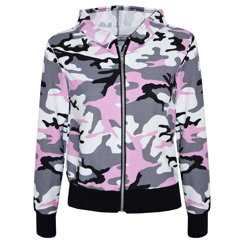 Kids Girls Camouflage Print Crop Top Legging Jacket Hoodie & Bottom Tracksuit Age 5 6 7 8 9 10 11 12 13 Years