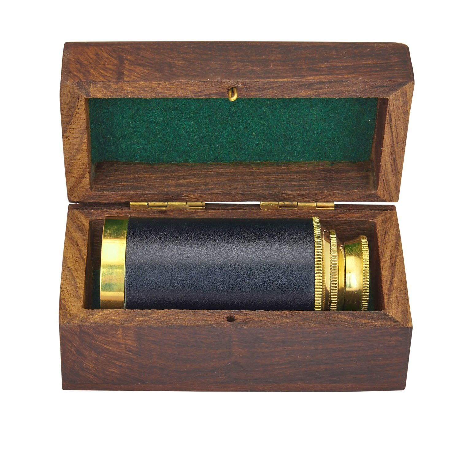 6 Inch Vintage Antique Handheld Adjustable Zoomable Monocular Nautical Brass Telescope Copper Finish In Hand Crafted Rosewood Box Navy Pirate Navigation Spyglass Pirate Accessory Gifts For Kids