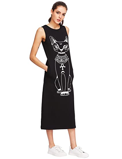 Makemechic Women S Cat Print Tank Top Dress Boho Long Maxi